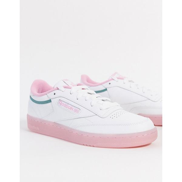 リーボック レディース スニーカー シューズ Reebok Club C sneaker in pink and green White