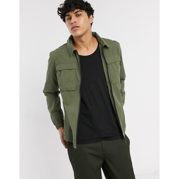 セレクテッドオム メンズ シャツ トップス Selected Homme overshirt with double pockets in khaki nylon Grape leaf