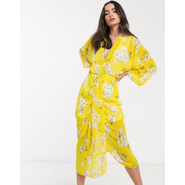 アックスパリ レディース ワンピース トップス AX Paris kimono dress in yellow floral Yellow floral