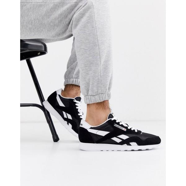 リーボック メンズ スニーカー シューズ Reebok Classic nylon sneakers in black Black