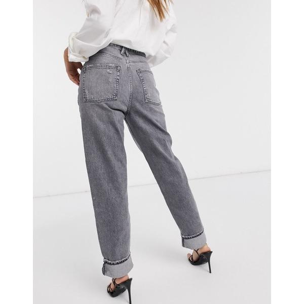 リバーアイランド レディース デニムパンツ ボトムス River Island super high rise straight leg jeans in gray Gray