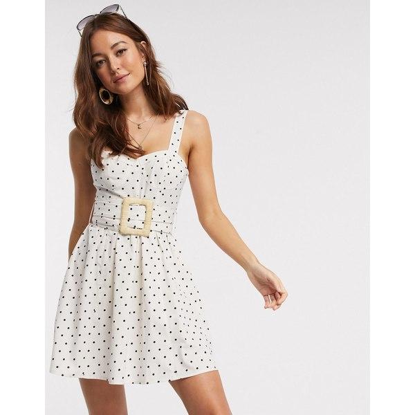 エイソス レディース ワンピース トップス ASOS DESIGN mini skater sundress with wicker belt in polka dot Cream / black spot