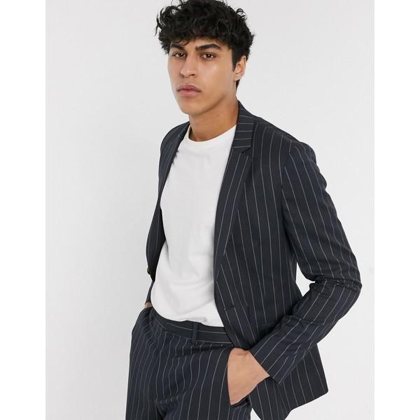 エイソス メンズ ジャケット&ブルゾン アウター ASOS DESIGN super skinny suit jacket in navy wide pinstripe Navy