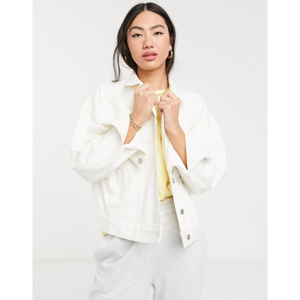 ウィークデイ レディース コート アウター Weekday Grand organic cotton oversized denim jacket in white White