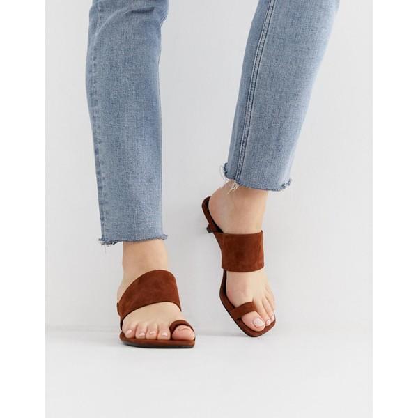 バガボンド レディース サンダル シューズ Vagabond polly brown suede toe strap kitten heel sandals Brandy