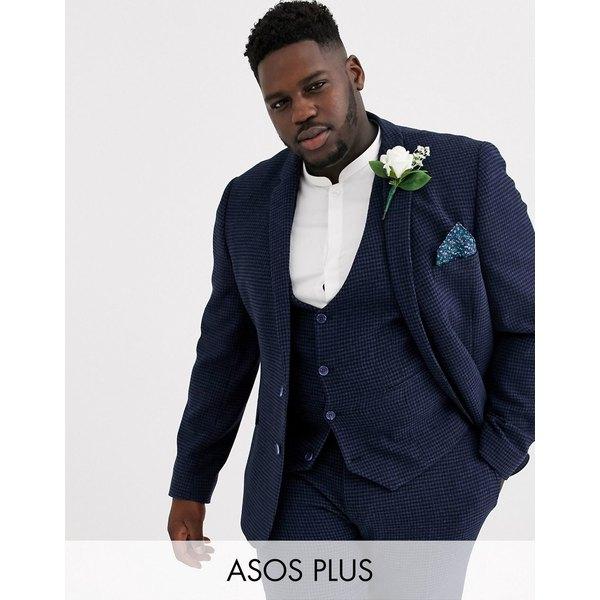 エイソス メンズ ジャケット&ブルゾン アウター ASOS DESIGN Plus wedding super skinny suit jacket in blue wool blend mini check Blue