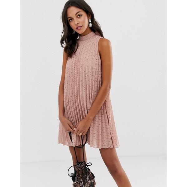 エイソス レディース ワンピース トップス ASOS DESIGN high neck pleated broderie mini swing dress Pink