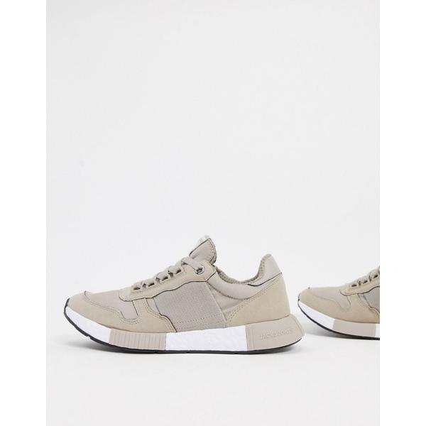 ジャック アンド ジョーンズ メンズ スニーカー シューズ Jack & Jones runner sneakers with elasticated detail in stone String