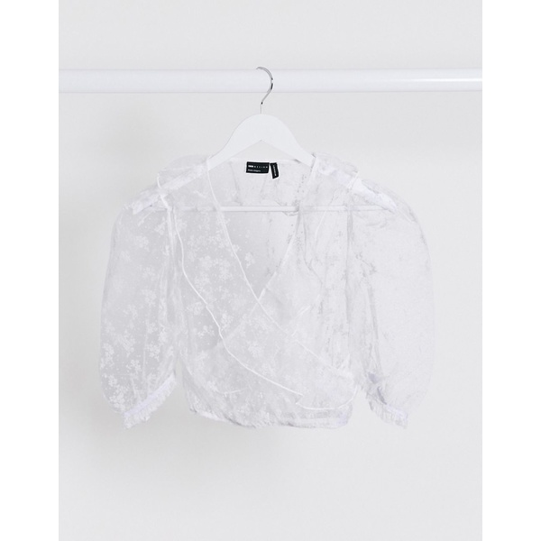 エイソス レディース シャツ トップス ASOS DESIGN organza wrap with burnout floral in white White