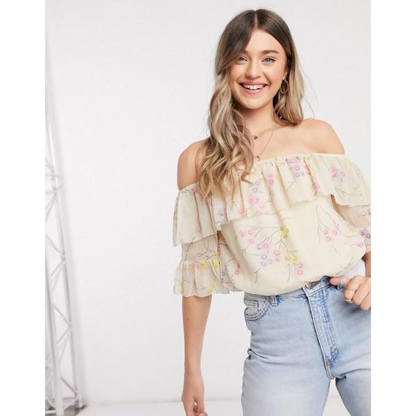 リバーアイランド レディース シャツ トップス River Island floral print bardot frill blouse in cream Cream