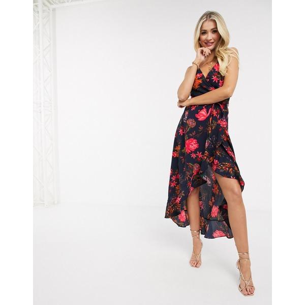アックスパリ レディース ワンピース トップス AX Paris cami wrap dress in floral Navy