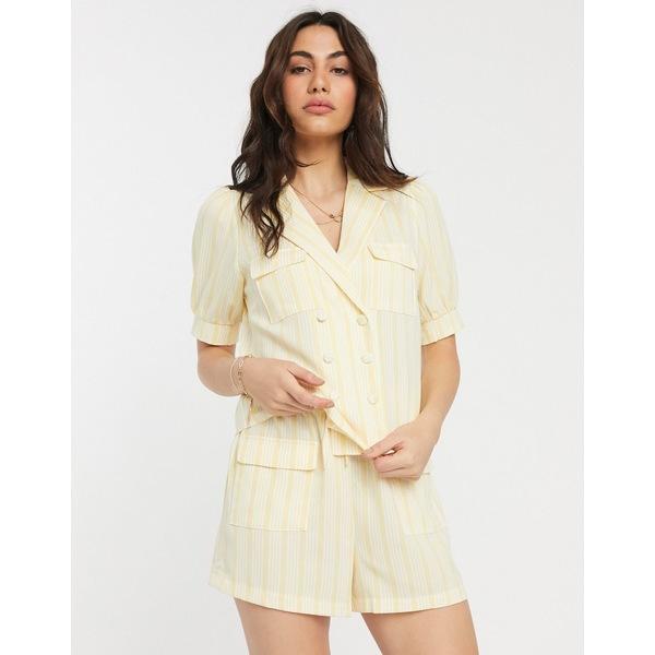 ファッションモンキー レディース シャツ トップス Fashion Union double breasted shirt in stripe two-piece Yellow stripe