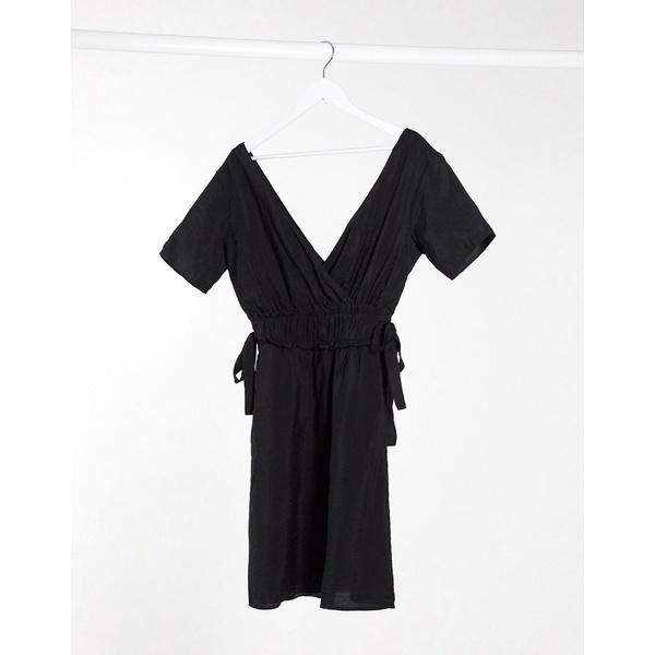 オブジェクト レディース トップス ワンピース Black 全商品無料サイズ交換 Object 一部予約 linen dress with in sides 贈物 mini tie black