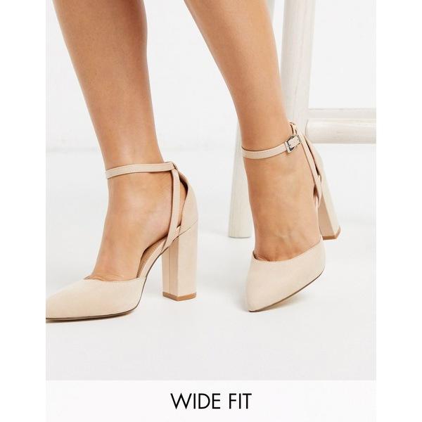 トゥラッフル レディース ヒール シューズ Truffle Collection wide fit pointed block heeled shoes in beige Nude micro