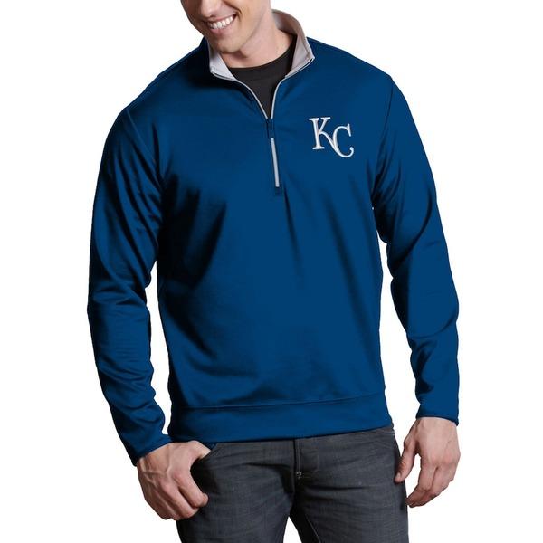 アンティグア メンズ ジャケット&ブルゾン アウター Kansas City Royals Antigua Leader Quarter-Zip Pullover Jacket Royal -
