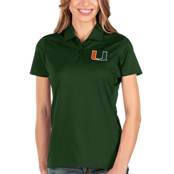 アンティグア レディース ポロシャツ トップス Miami Hurricanes Antigua Women's Balance Polo Green