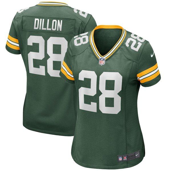 ナイキ レディース シャツ トップス AJ Dillon Green Bay Packers Nike Women's Player Game Jersey Green