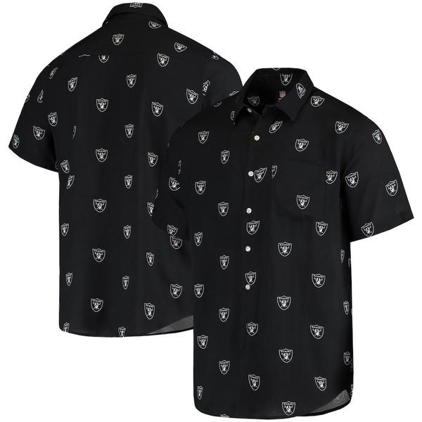フォコ メンズ シャツ トップス Las Vegas Raiders Mini Print Logo Woven Button-Up Shirt Black
