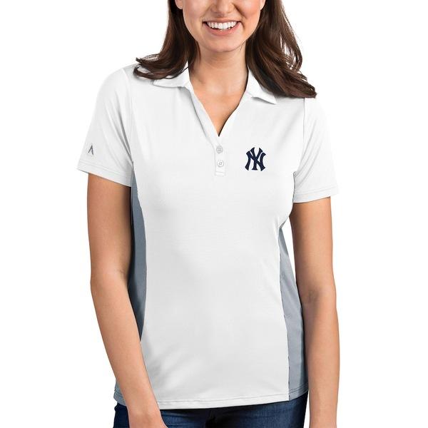 アンティグア レディース ポロシャツ トップス New York Yankees Antigua Women's Venture Polo White/Steel