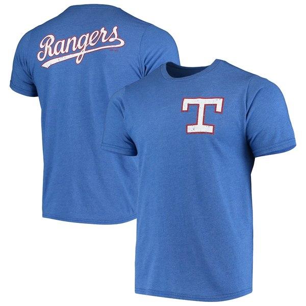 マジェスティックスレッズ メンズ Tシャツ トップス Texas Rangers Majestic Threads Throwback Logo Tri-Blend T-Shirt Royal