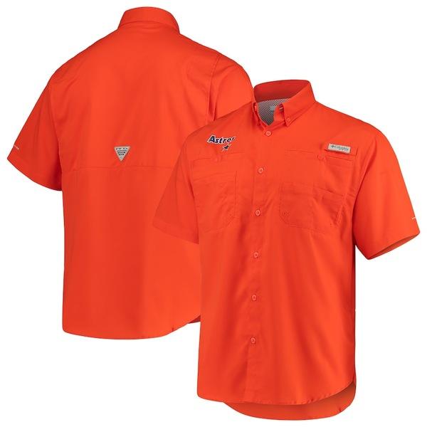 コロンビア メンズ シャツ トップス Houston Astros Columbia Cooperstown Collection Tamiami Button-Down Omni-Shade Shirt Orange