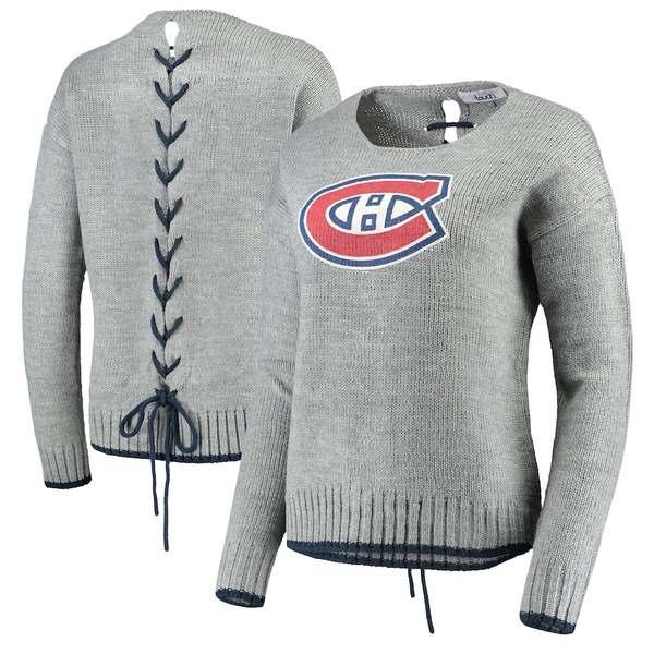アリッサミラノ レディース シャツ トップス Montreal Canadiens Touch by Alyssa Milano Women's All Laced Up Sweater Gray