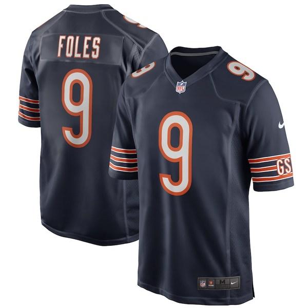 ナイキ メンズ シャツ トップス Nick Foles Chicago Bears Nike Game Player Jersey Navy