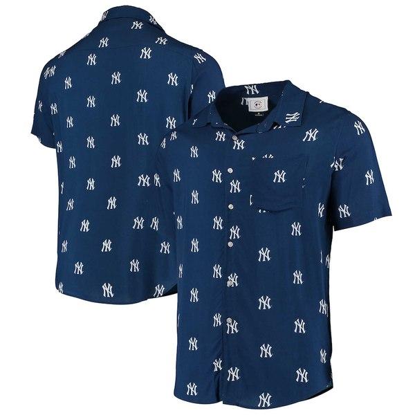 フォコ メンズ シャツ トップス New York Yankees Mini Print Logo Button-Up Shirt Navy