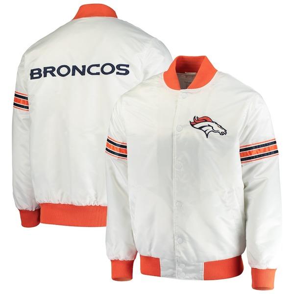 スターター メンズ ジャケット&ブルゾン アウター Denver Broncos Starter Rookie Varsity Full-Snap Jacket White