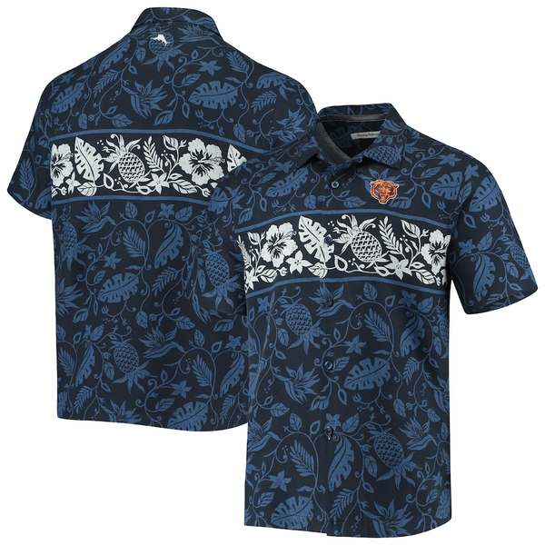 トッミーバハマ メンズ シャツ トップス Chicago Bears Tommy Bahama Pina Plazzo Silk Camp Shirt Navy