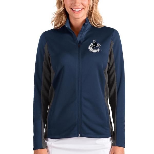 アンティグア レディース ジャケット&ブルゾン アウター Vancouver Canucks Antigua Women's Passage Full-Zip Jacket Blue/Charcoal