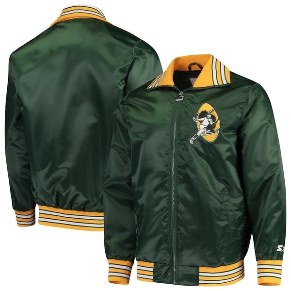 スターター メンズ ジャケット&ブルゾン アウター Green Bay Packers Starter Captain Satin Varsity Jacket Green