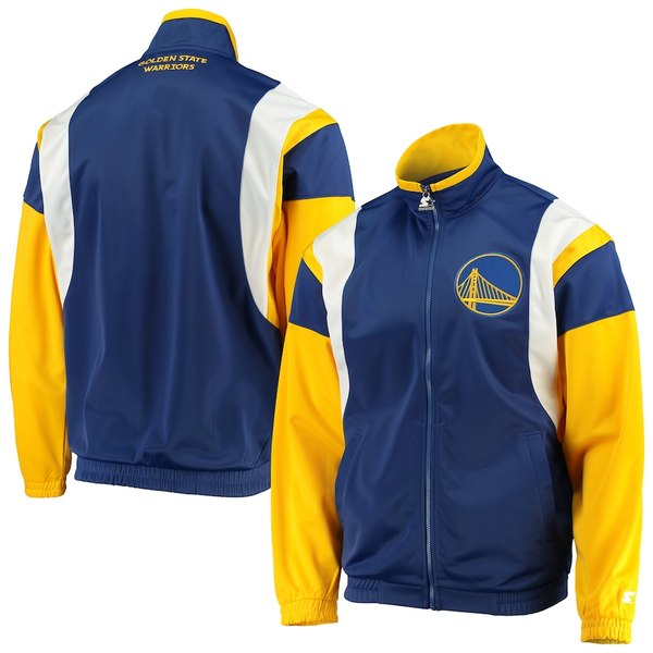 スターター メンズ ジャケット&ブルゾン アウター Golden State Warriors Starter The Contender Tricot Full-Zip Track Jacket Royal/Gold