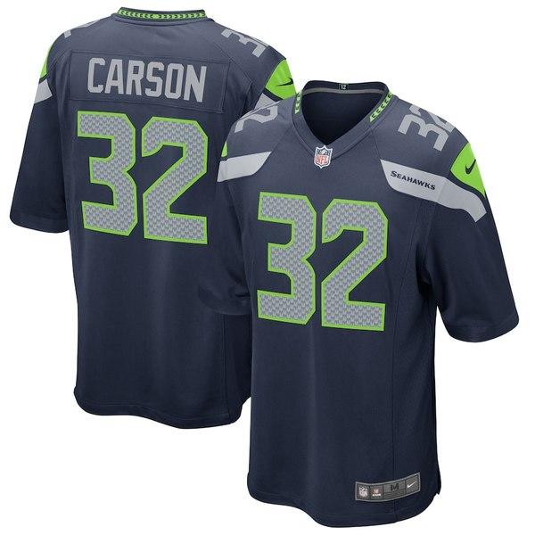 ナイキ メンズ シャツ トップス Chris Carson Seattle Seahawks Nike Game Jersey College Navy