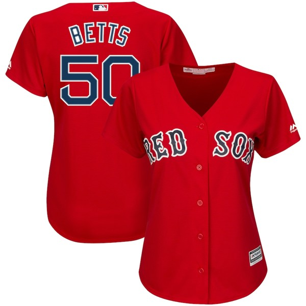 マジェスティック レディース シャツ トップス Mookie Betts Boston Red Sox Majestic Women's Alternate Cool Base Player Jersey Scarlet