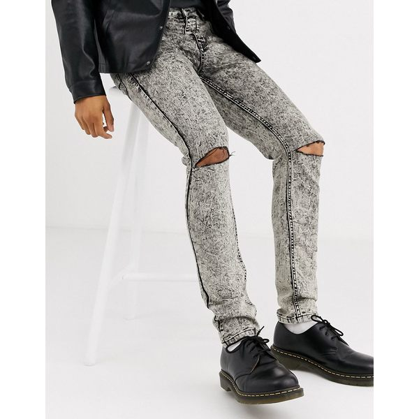 ハートアンドダガー メンズ デニムパンツ ボトムス Heart & Dagger super skinny jeans in gray acid wash with rips Gray