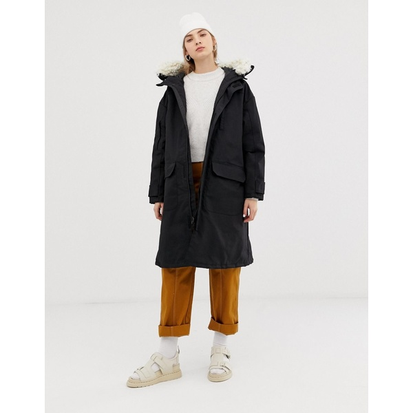 ウィークデイ レディース コート アウター Weekday oversized parka with faux fur hood Black