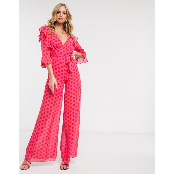 ダークピンク レディース ワンピース トップス Dark Pink plunge front jumpsuit in red and pink polka dot Red/pinik