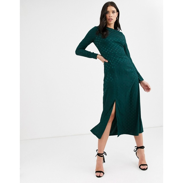 ファッションモンキー レディース ワンピース トップス Fashion Union long sleeve midi dress with dip back and tie detail Green spot satin