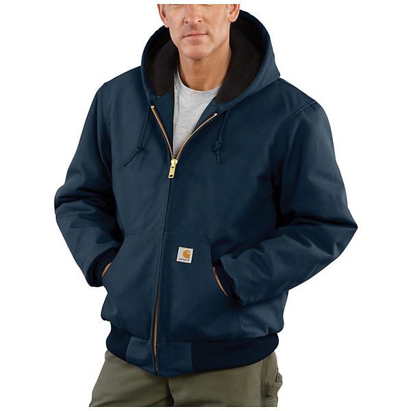 カーハート メンズ ジャケット&ブルゾン アウター Carhartt Men's Quilted Flannel Lined Duck Active Jacket Dark Navy