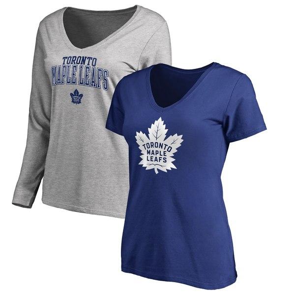 ファナティクス レディース Tシャツ トップス Toronto Maple Leafs Fanatics Branded Women's Square VNeck TShirt Combo Set Blue/Gray