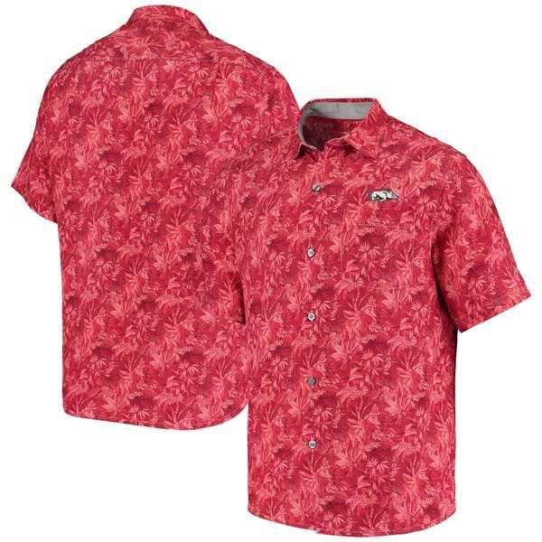 トッミーバハマ メンズ シャツ トップス Arkansas Razorbacks Tommy Bahama Sport Jungle Shade Camp ButtonUp Shirt Cardinal
