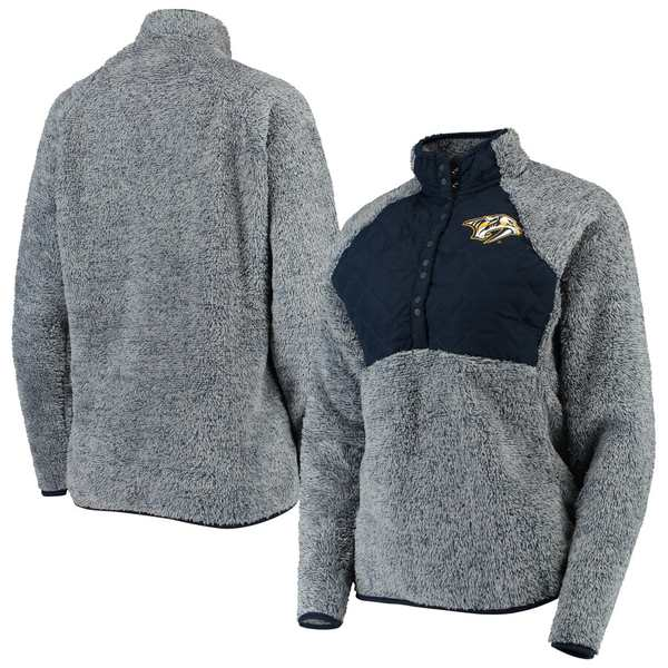 アンティグア レディース ジャケット&ブルゾン アウター Nashville Predators Antigua Women's Surround Sherpa Quarter-Snap Pullover Jacket Navy/Heathered Gray