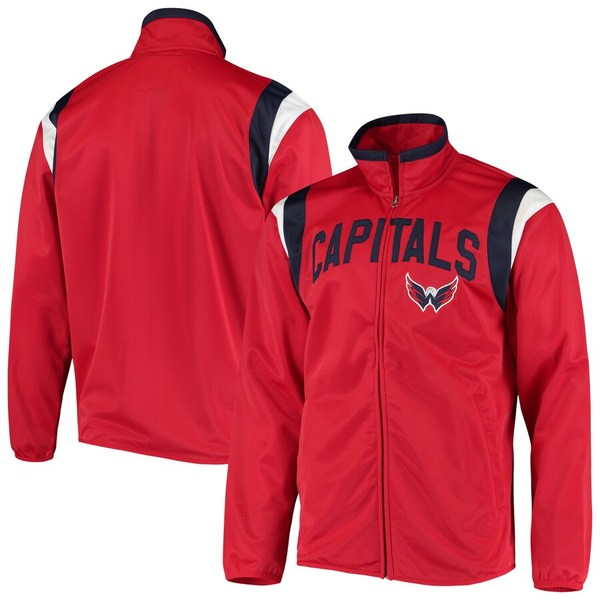 カールバンクス メンズ ジャケット&ブルゾン アウター Washington Capitals G-III Sports by Carl Banks Post Up Full-Zip Track Jacket Red