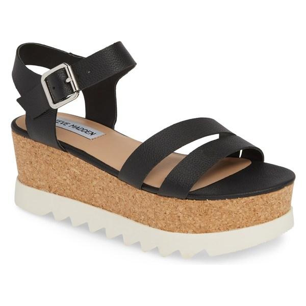 スティーブ マデン レディース サンダル シューズ Steve Madden Keykey Platform Wedge Sandal (Women) Black Leather