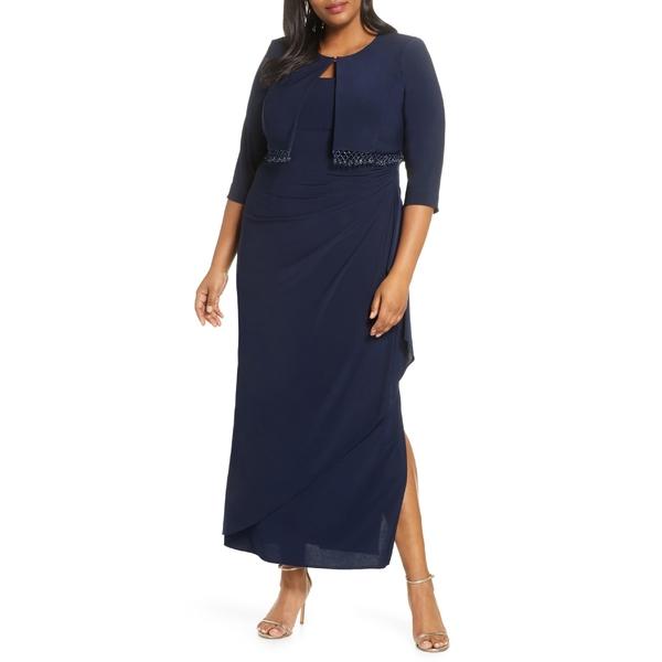 アレックスイブニングス レディース ワンピース トップス Alex Evenings Side Ruched Evening Dress with Bolero Jacket (Plus Size) Navy