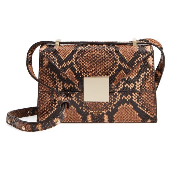 デメリエー レディース ハンドバッグ バッグ DeMellier Mini Copenhagen Snake Embossed Calfskin Leather Shoulder Bag Cognac Snake Effect