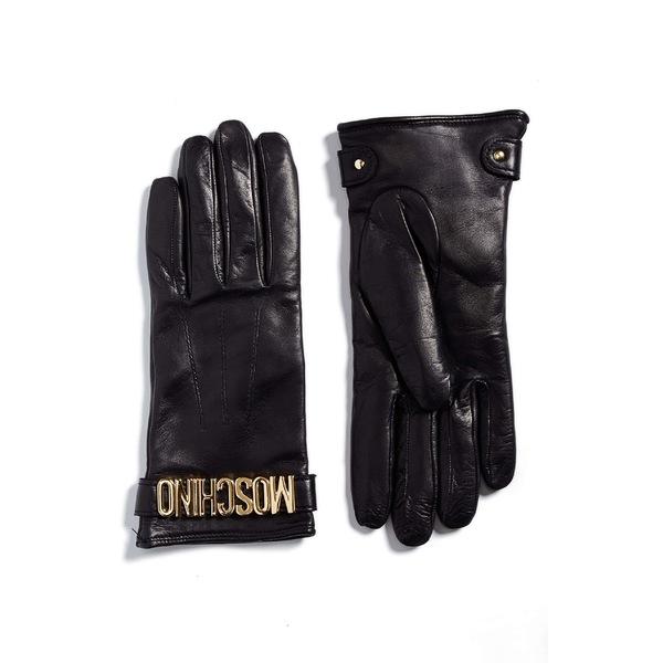 モスキーノ レディース 手袋 アクセサリー Moschino Logo Leather Gloves Black/ Gold