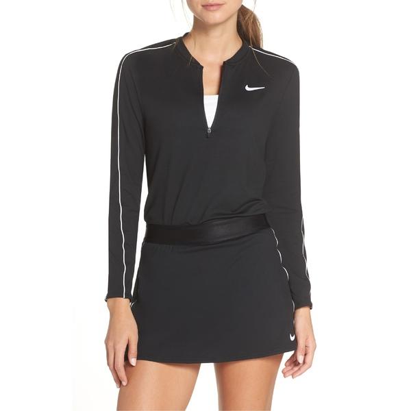 ナイキ レディース パーカー・スウェットシャツ アウター Nike Court Dri-FIT Quarter Zip Top Black/ White/ White/ Black