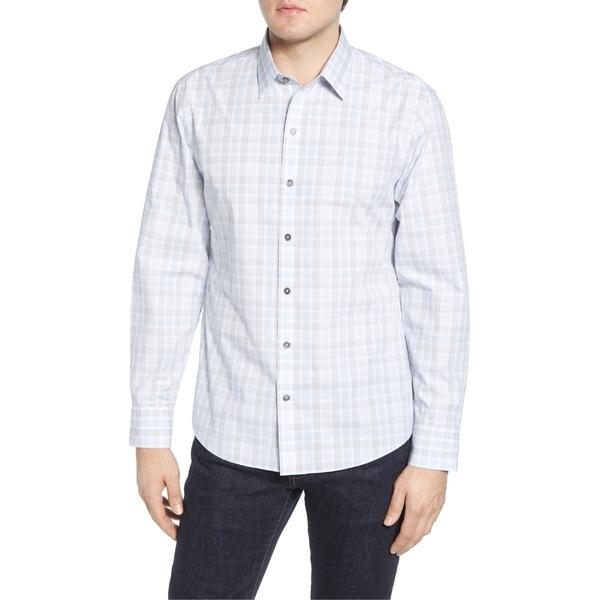 ザッカリープレル メンズ シャツ トップス Zachary Prell Limin Regular Fit Plaid Button-Up Sport Shirt White